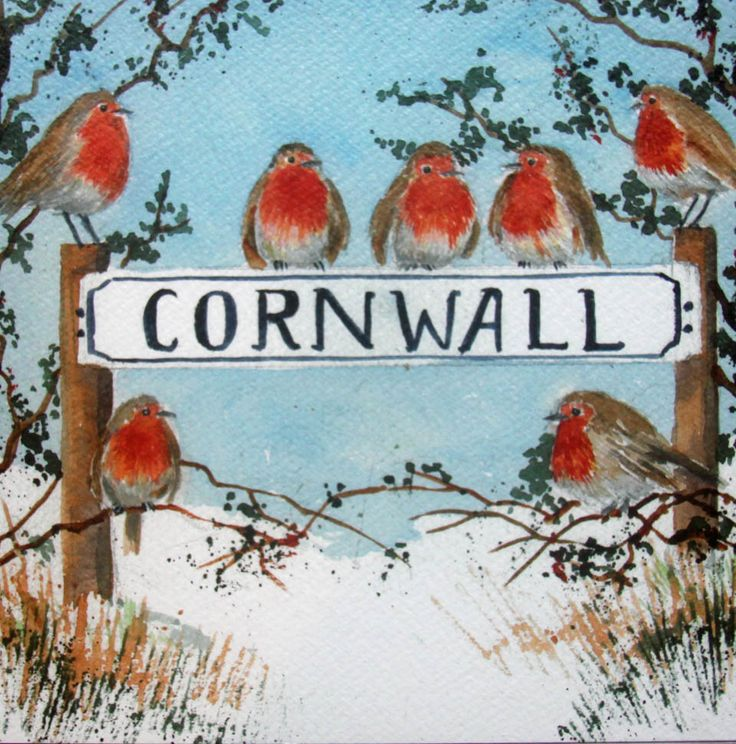 Cornwall Christmas robins, from a Christmas card