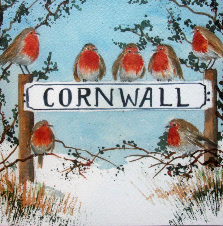 Cornwall Christmas robins, from a Christmas card