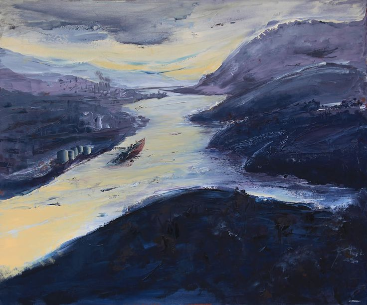 Towards Risdon, Derwent to the North by John Hodgman. 2014. Oil on linen (framed). 76 x 91cm. $2500 (or $209 per month interest free with COLLECT)