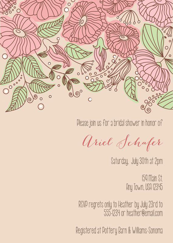 Invitación floral despedida de soltera por inglishdigidesign