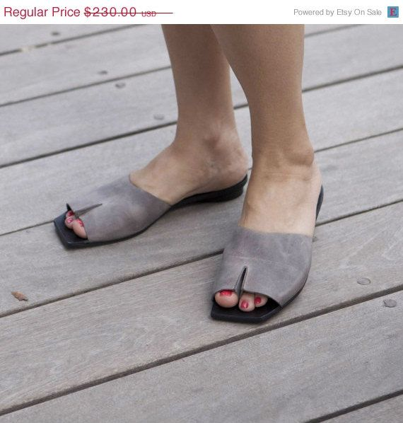 30 off Summer SALE Grey sandals Leather shoes by WalkByAnatDahari