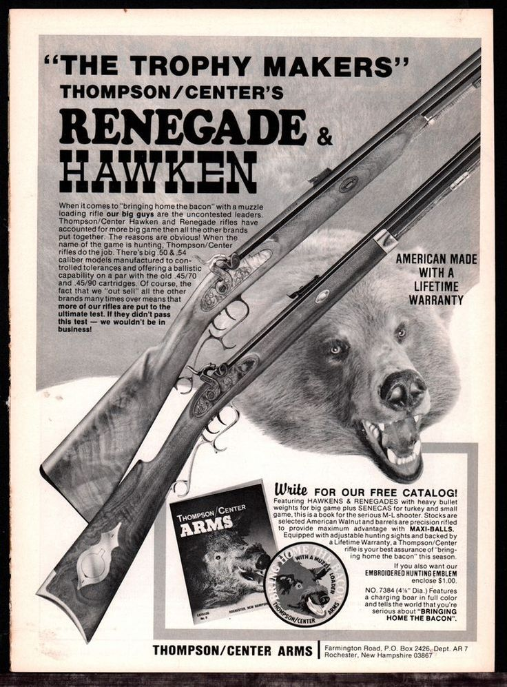 1983 THOMPSON CENTER ARMS TCA Renegade & Hawken Rifle AD