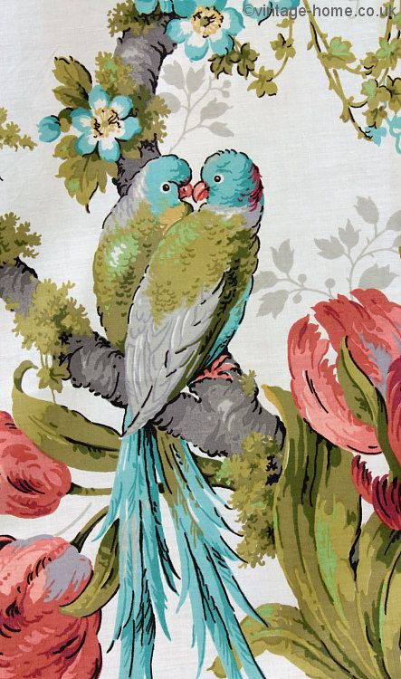 Vintage Home Shop - Vintage Sanderson Exotic Guadeloupe Cotton Chintz Curtains: www.vintage-home.co.uk