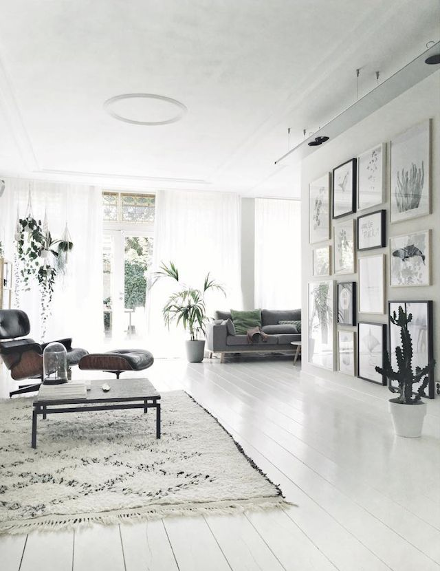 white home with big wall gallery