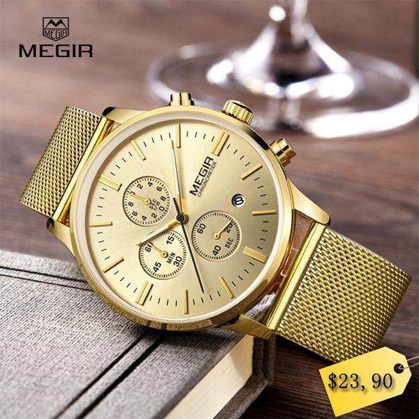 MEGIR fashion men's business quartz watches casual stainless steel mesh band wristwatch man luminous dress watch for male 2011G