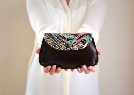 Hand Painted Leather Wallet Leather Clutch by BarbaLeatherWorks