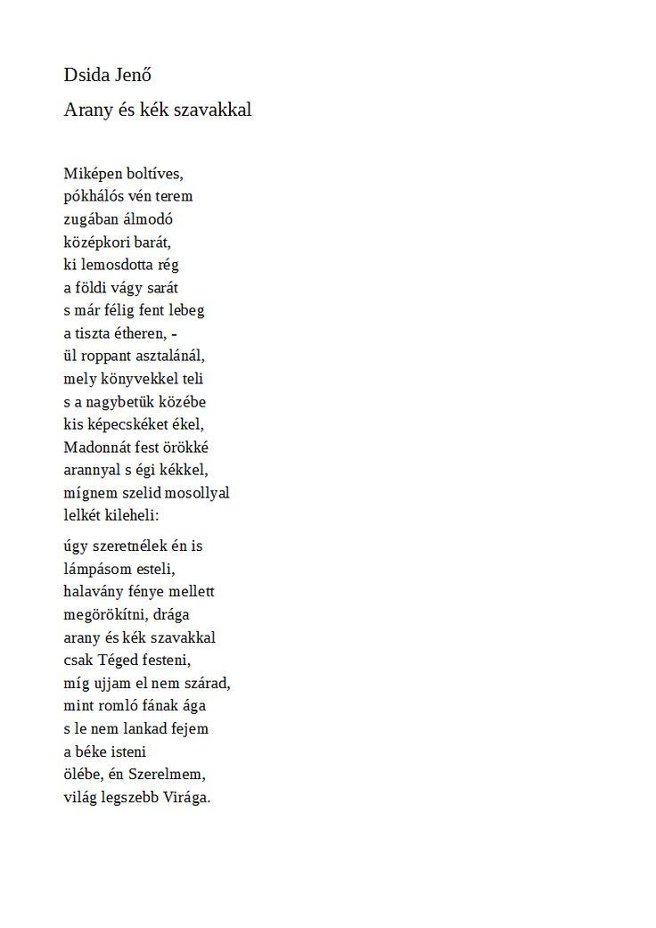 Dsida Jenő: Arany és kék szavakkal