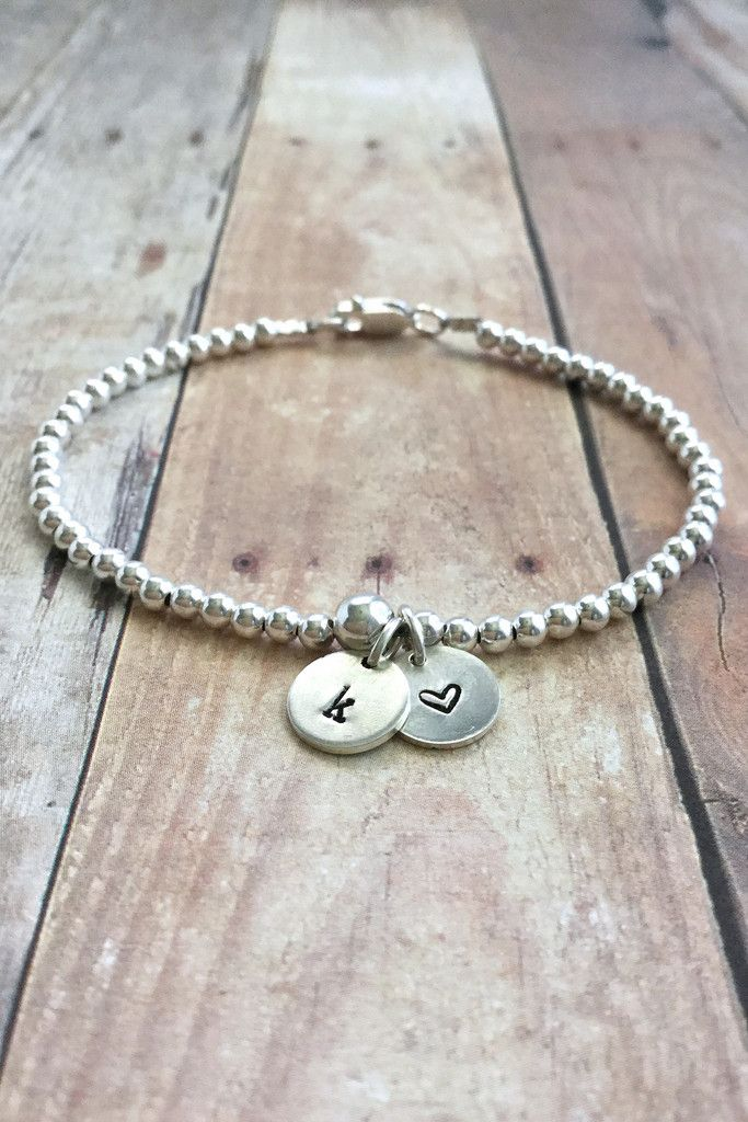 Silver Initial Bracelet, Tiny Bead Bracelet, Personalized Heart Charm Jewelry, Hand Stamped Jewelry