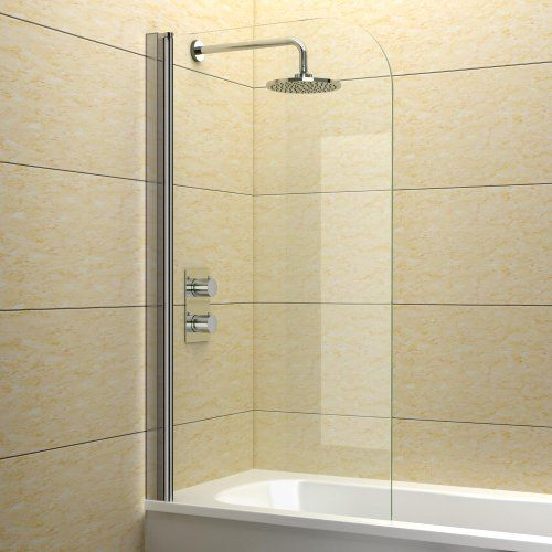 Single Curved Frameless Shower Over Bath Screen 6 mm Glass Pivot 180° 1400 X 800 - http://showerdoorspares.co.uk/complete-screens/complete-bath-screens/single-curved-frameless-shower-over-bath-screen-6-mm-glass-pivot-180-1400-x-800