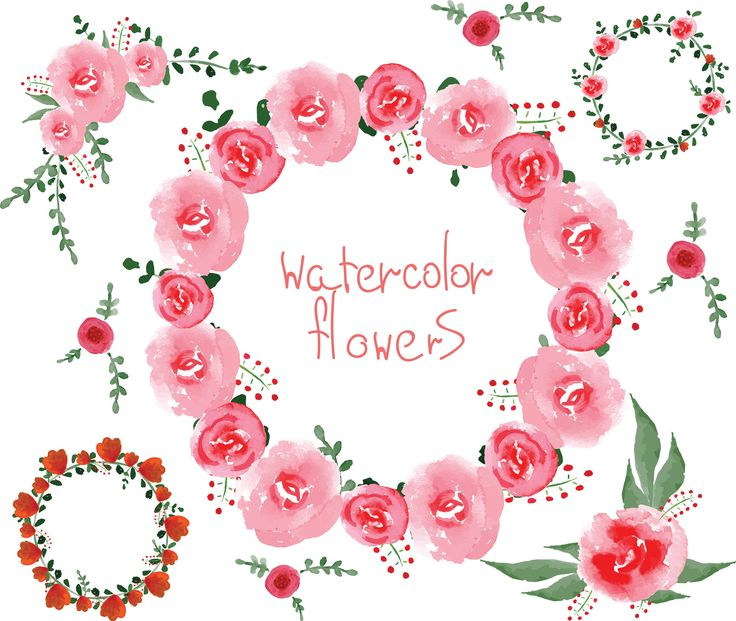 WATERCOLOR FLOWERS CLIPART, Png, Digital Download, Summer Clipart, Wreath Clip Art, Wedding Clipart, Wedding Card Design, Marriage Clipart