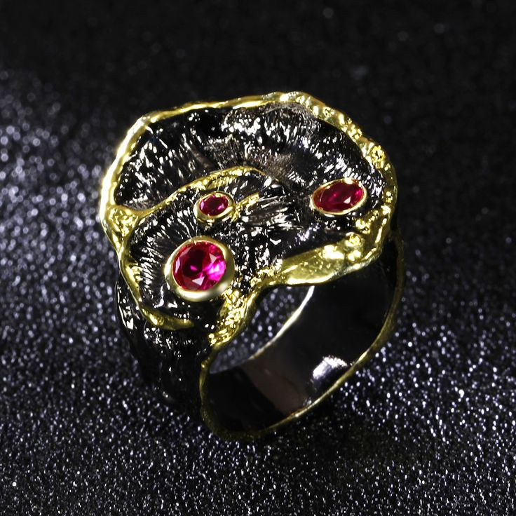 Elegant New Black leaf ring red Siam ring black and gold-color 2 tone rings Unique Design Cocktail accessories AAA CZ jewelry
