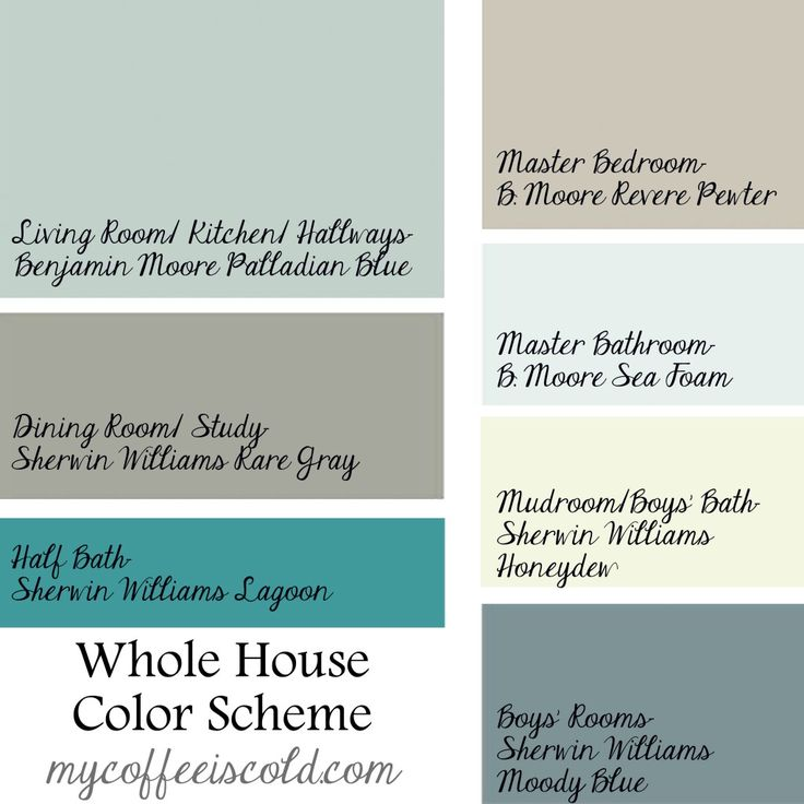 Whole house color scheme- making all the rooms flow! I already have a Palladian blue room!!