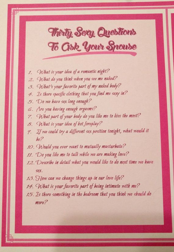 Sex questions to ask your mate