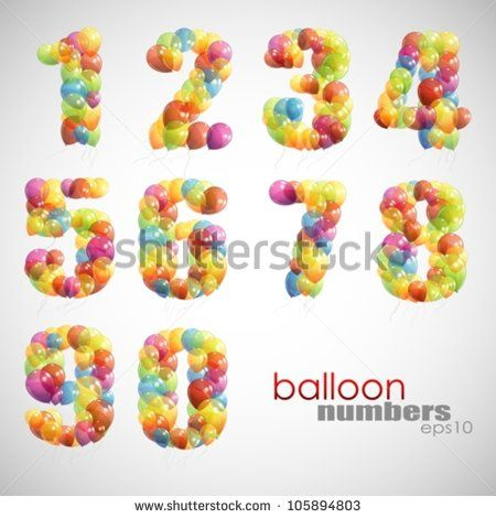 vector set of colorful numbers - stock vector