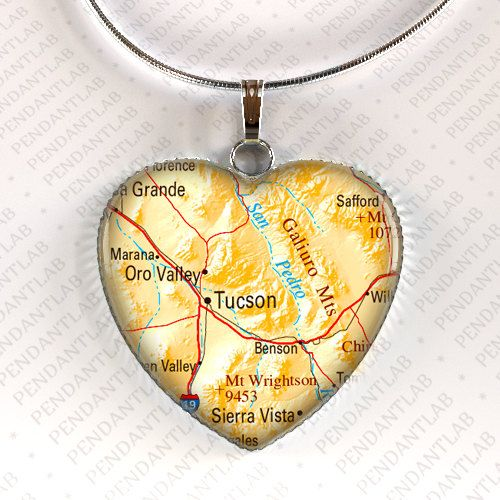 Tucson Map Pendant, Tucson Necklace, Tucson Jewelry, Arizona, Map Necklace, Heart, Gift, Charm, Travel, Home, Map Jewelry, Arizona Necklace