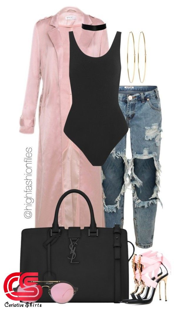 Chic fashion. Black bodysuit pink trench coat and ripped jeans