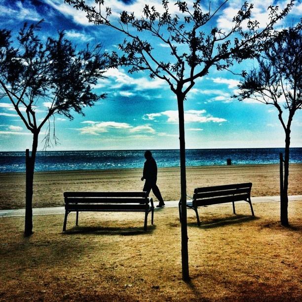 Walking near the beach. Pineda de Mar, Barcelona.