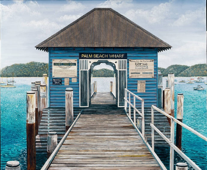 Palm Beach Wharf -painting on canvas sold. Available as placemats (Hale Imports) or prints
