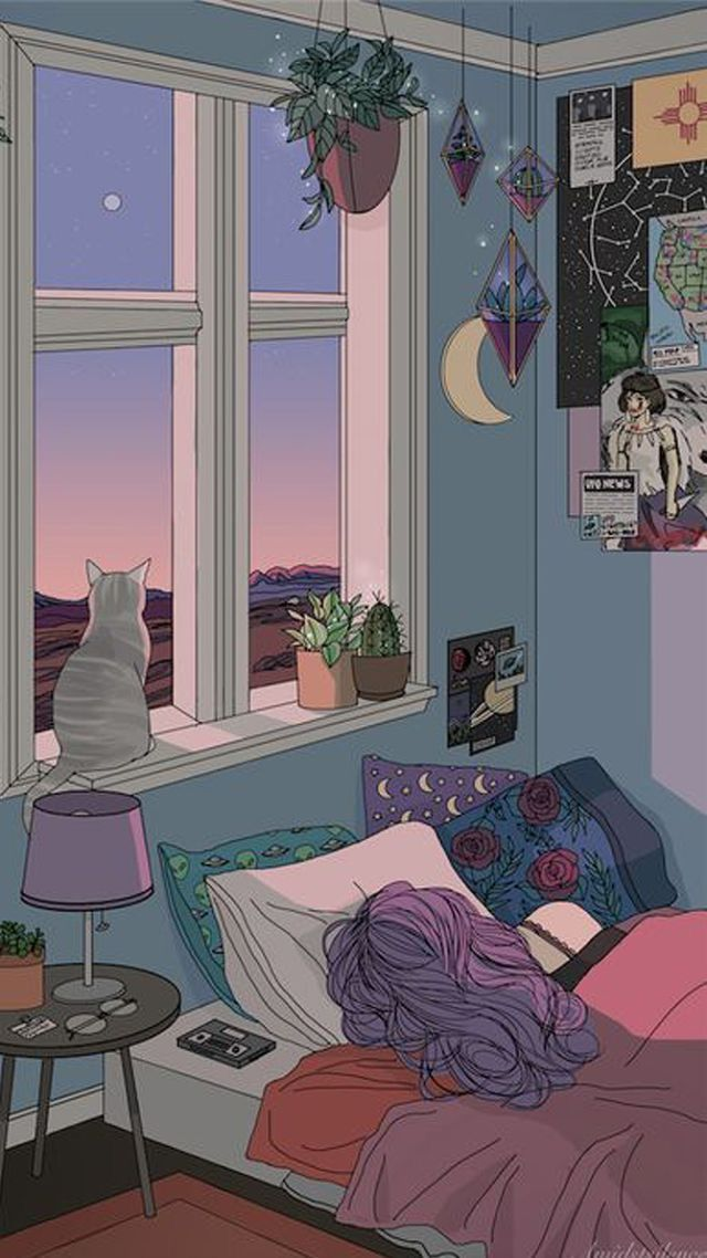 Aesthetic Room Iphone Tumblr Cartoon Wallpaper