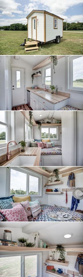 From Modern Tiny Living is the Nugget, an off-grid capable 102 sq.ft. micro home. The 12' home has a main floor sleeping area, kitchen, and bathroom.