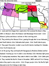 Color the route of the Lewis and Clark expedition.
