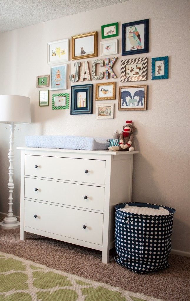 Dresser repurposed into a changing table. Love the frames on the wall! ^nn