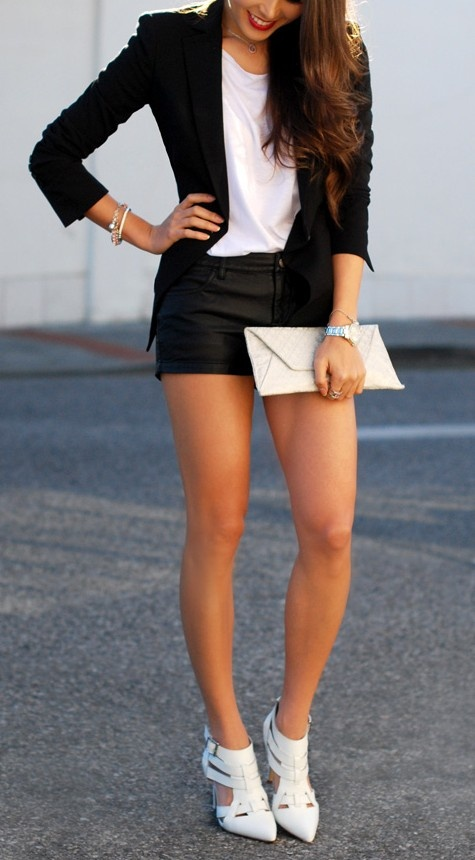 Sexy black and white with leather shorts