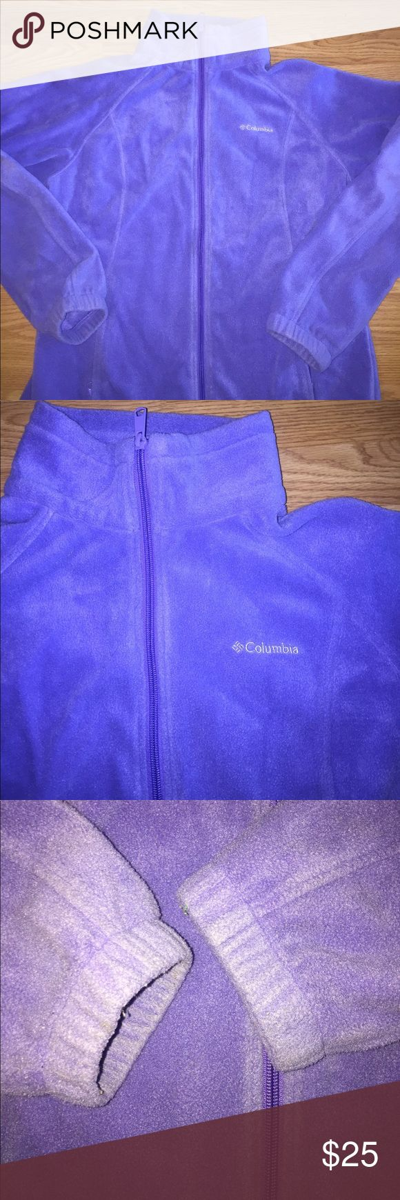 COLUMBIA purple zip up fleece jacket women large COLUMBIA brand. full zip up fleece jacket. Ladies / women size large. Zipper pockets in front. Elastic drawstring at bottom. Great condition! No holes or stains. This is a light purple/Lilac color jacket! The pictures make it look more blue than it actually is. This picture of the sleeves is a more accurate depiction of the jacket color! Bundle with another item in my closet for a discount! Columbia Jackets & Coats