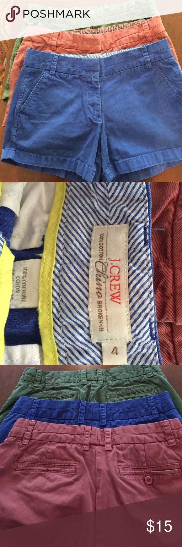 "Bundle of 3 J Crew broken in shorts size 4. 4"" J.Crew Broken-In Chino shorts. 4"" long. Olive, Cobalt blue, Washed red colours. 100% cotton. In Very Good used condition. Bundled all 3 for one low price. J. Crew Shorts"