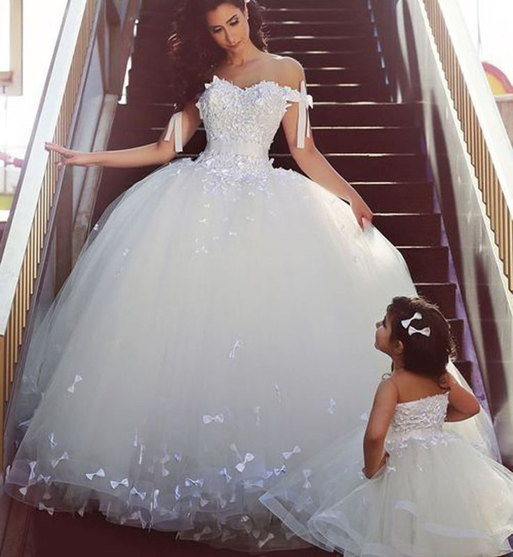 Lace Bridal Ball Gown with Bow,Sweetheart Prom Dress with Tulle,JD 176 from June Bridal