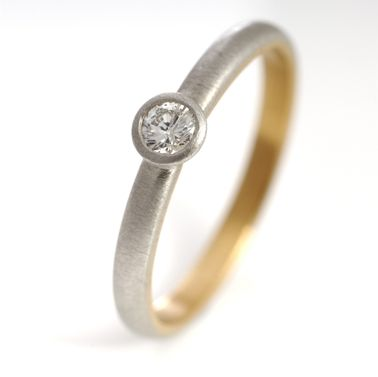 Platinum, 22ct gold and diamond ring | Contemporary Rings by contemporary jewellery designer Goodman Morris