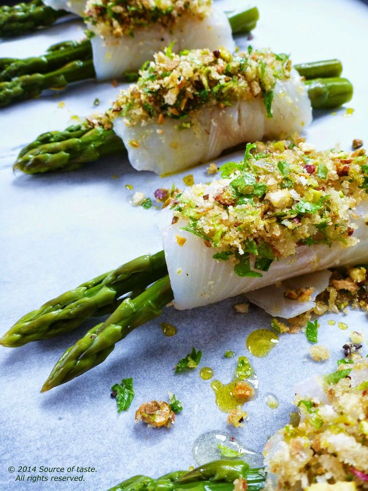 Fish-wrapped  Asparagus with Pangratatto
