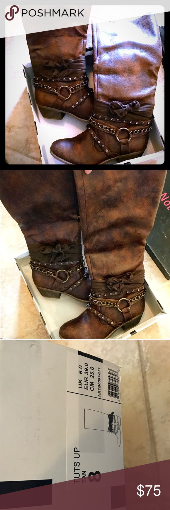 NEW NOT RATED BUCKLE TALL BROWN BOOTS SIZE 8 NEW IN BOX!!!  NOT RATED BUCKLE TALL BOOTS SIZE 8!  IN BROWN!!  NEVER WORN BESIDES TO TAKE A PICTURE INSIDE, SOLD OUT IN STORES!!! Buckle Shoes Combat & Moto Boots