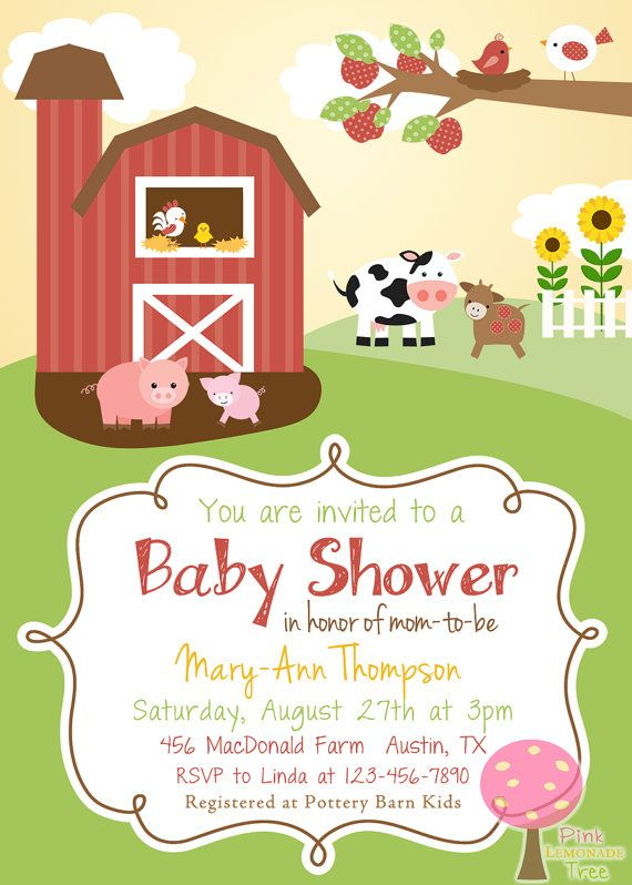 Farm Themed Baby Shower Invitation                                                                                                                                                      More