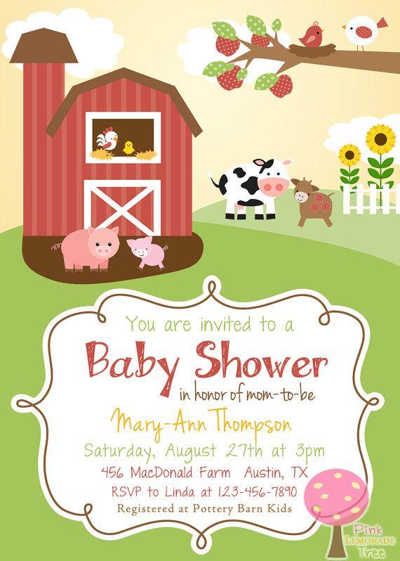 Farm Themed Baby Shower Invitation                                                                                                                                                      More