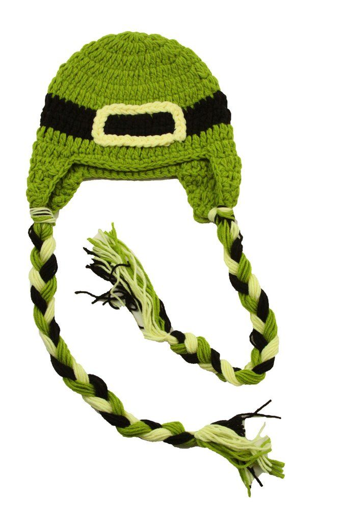 Baby Green Unisex Lucky Leprechaun Crochet Hat With Braids Boutique St Patricks Day