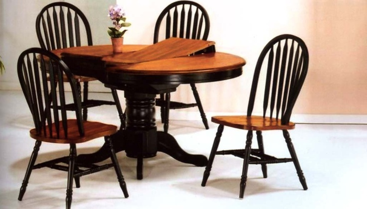 Solid birch 42 round single pedestal table with butterfly leaf 4 chairs black pedestal and - Birch kitchen table ...