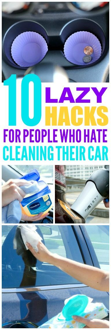 These 10 lazy car cleaning hacks are THE BEST! I'm so glad I found these AMAZING tips! Now I have great ways to keep my car clean and tidy! Definitely pinning!