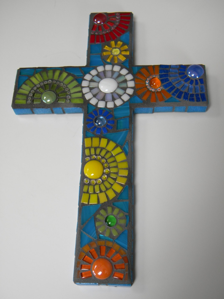 Mexican Festival Blanket Mosaic Cross by TheMosartStudio on Etsy