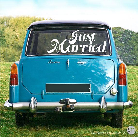 25 beste idee n over just married car op pinterest for 100th window vinyl