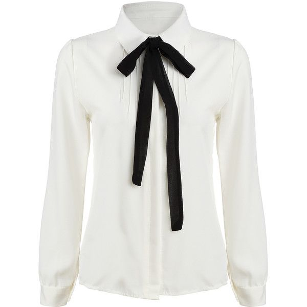 SheIn(sheinside) White Tie-neck Long Sleeve Slim Blouse ($17) ❤ liked on Polyvore featuring tops, blouses, shirts, white, blusas, long sleeve blouse, white collar shirt, white shirt, long sleeve tops and long sleeve shirts