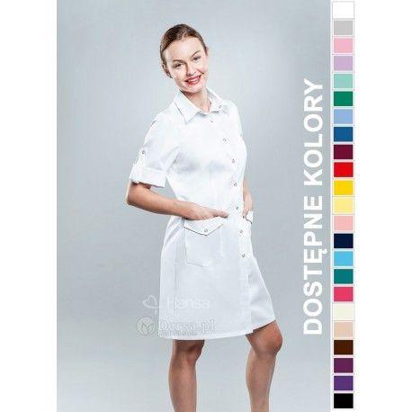 Dobrej jakości i wygodna odzież medyczna, to niezawodny atrybut każdego lekarza, pielęgniarki, czy farmaceutki. | Fartuch medyczny damski Hansa 0043. |