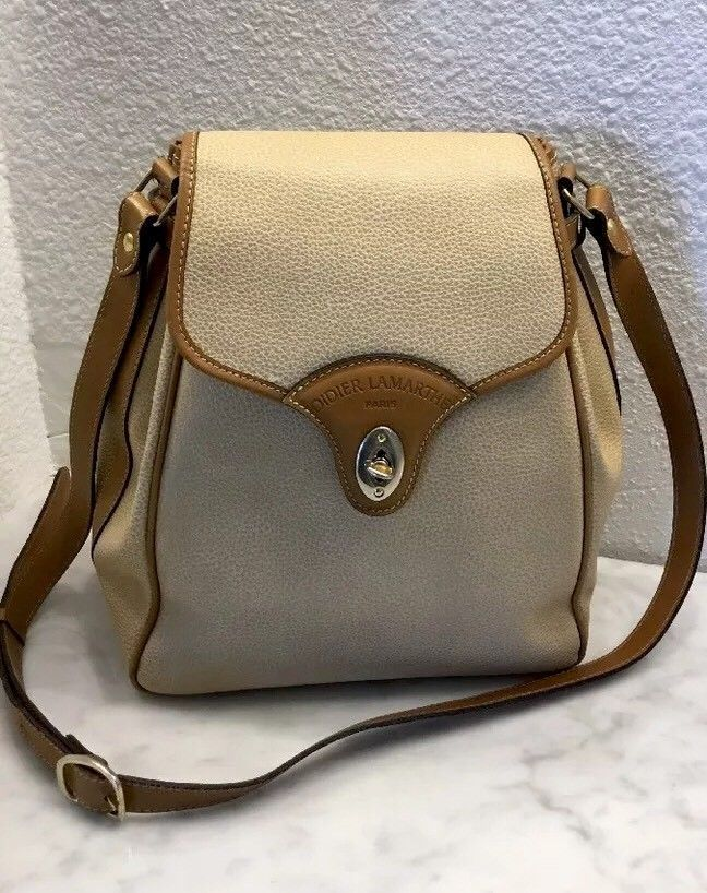 5e83d78bb57f DIDIER LAMARTHE PARIS Vintage Two Tone Tan Leather Bucket Bag Made in France   DIDIERLAMARTHEPARIS  BAG