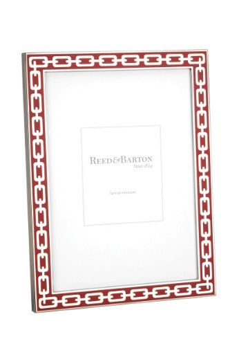Reed & Barton Silver Link 4 by 6-Inch Frame, Poppy:   Reed & Barton's Silver Links collection of frames is truly unique. It features Inlays of white, navy, midnight, greige or poppy enamel surround a bright silver link chain design. Sophisticated and refined, the Silver Link frame collection enhances every decor.