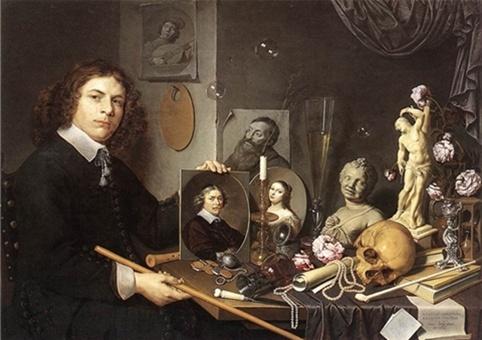데이비드 데일리 <젊은 화가의 초상이 있는 바니타스 정물화>