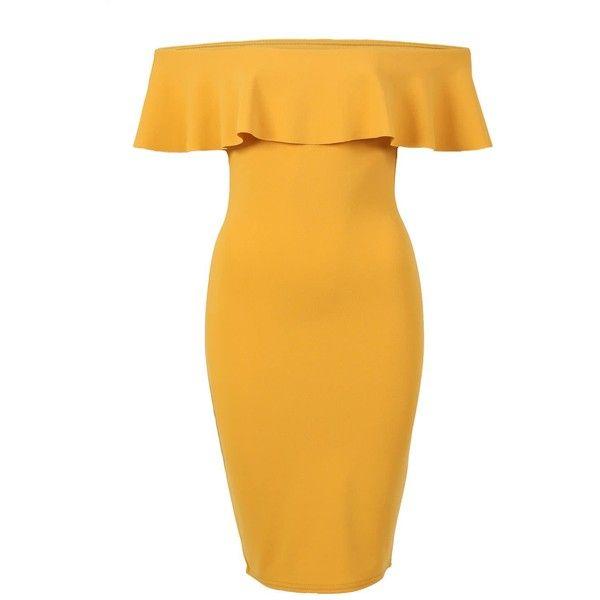 Pilot Deep Frill Bardot Bodycon Mini Dress ($28) ❤ liked on Polyvore featuring dresses, mustard yellow, body con dress, yellow ruffle dress, bodycon party dresses, short party dresses and short dresses