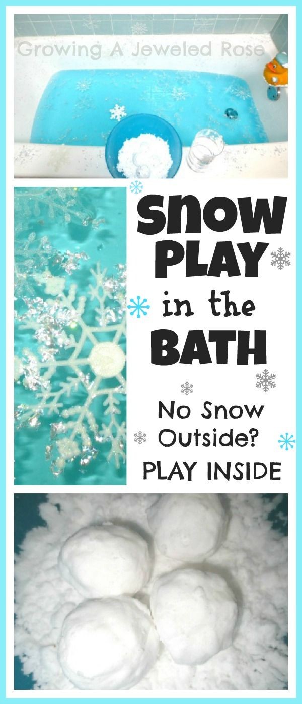 No snow outside? Create a FUN filled snow day inside! Recipe for BATH SAFE sensory snow included in the post.
