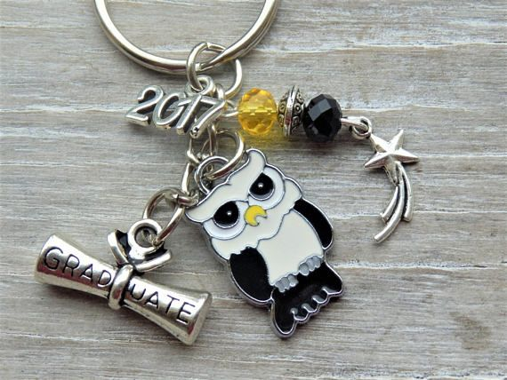 Graduation Key chain Gift, Graduate 2017, College Graduate, PhD gift, University Gift, Owl Keyring, Masters gift, Gift for him, Gift for her