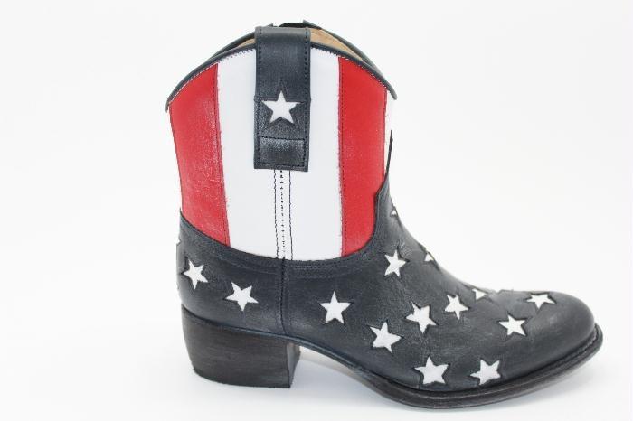 gave Sendra western bootie met amerikaanse vlag in het leer, met zijrits.