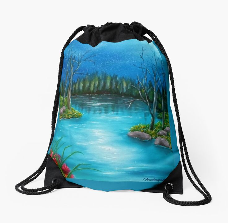 Drawstring Bag,  blue,cool,beautiful,fancy,unique,trendy,artistic,awesome,fahionable,unusual,accessories,for,sale,design,items,products,gifts,presents,ideas,blue,forest,river,redbubble
